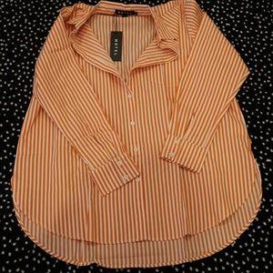 Motel rocks orange and white button down shirt